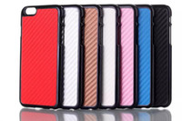 Wholesale Iphone Luxury Leather Chrome Case - For iPhone 6 Carbon Fiber Leather Electroplate Grain Luxury Chrome Hard Back Case Cover For iphone 6G 6 Plus 6+