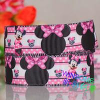 "Wholesale Grosgrain Ribbon 22mm - 10 yards 7 8""(22mm) Minnie mouse cartoon grosgrain ribbon, DIY decoration gift ribbon Free shipping"