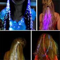 Wholesale flash extensions - 10pcs lot Luminous Light Up LED Hair Extension Flash Braid Party girl Hair Glow by fiber optic For party christmas Night Lights