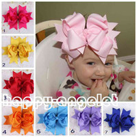 Wholesale Large Baby Hair Flowers - 24pcs hair accessories kids ,bows flower ,baby girls headband flower Headwear 7.5-8inch Very large Grosgrain Bows ribbon Bowknot HD3235