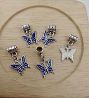 Wholesale european butterfly dangles - Hot ! Antique Silver Blue Enamel Butterfly Bug Garden Dangle Charms Beads fit European Bracelets 28 x16mm (z535)