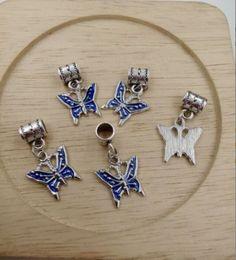 Wholesale Gardening Charms - Hot ! Antique Silver Blue Enamel Butterfly Bug Garden Dangle Charms Beads fit European Bracelets 28 x16mm (z535)