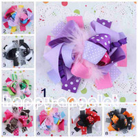 """Wholesale Large Feather Headbands - 20pcs hair accessories kids ,bows flower ,baby girls headband Headwear 5-6"""" boutique Very large Grosgrain Bowknot feather hair clip HD3234"""