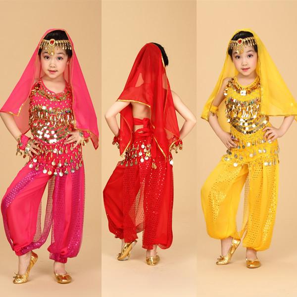 top popular 6pcs Top + Pant + Belt + Bracelet + Veil + Head Chain Kids Belly Dance Performance Costumes Children's Dancing Wear Belly Dance Cloth Set 2019