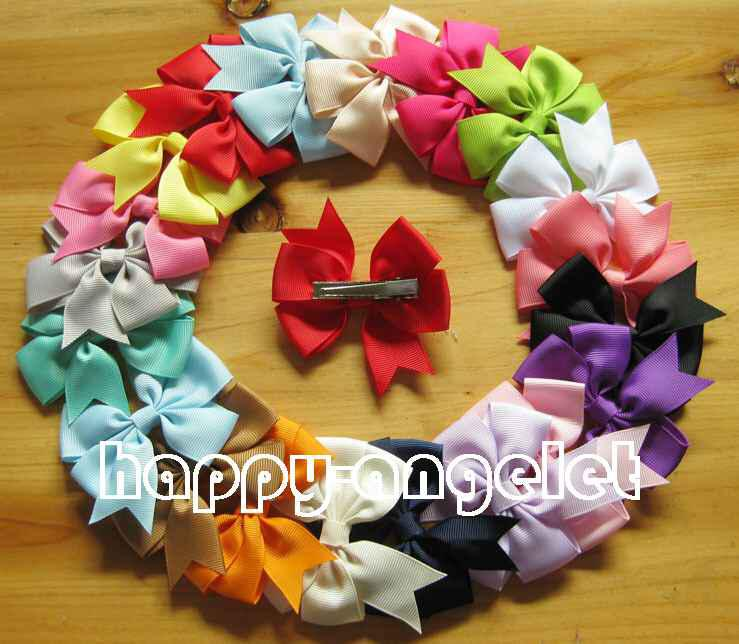 40pcs hair accessories kids bows flower baby grosgrain ribbon Coattails bows WITH clip,baby girls headband flower boutique Bowknot HD3227