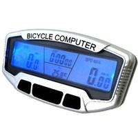 fahrradcomputer-hintergrundbeleuchtung großhandel-Fahrradzubehör Fahrrad Computer Fahrradcomputer Fahrrad Geschwindigkeitsmessgerät SD558A LCD Computer Kilometerzähler Velometer Hintergrundbeleuchtung
