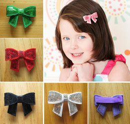 """Baby Sequin Hair Clips Wholesale Australia - 60pcs girls hair accessories kids 2"""" Shinning sequins bows flowers clips baby headband Headwear bow Hairpin Photo Props HD3228"""