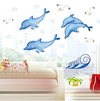 Wholesale Cheap Animal Wall Stickers - Holiday Promotion Cheap Ocean Fish Dolphin wall Catoon Kids Room Wall Sticker DIY Bath Room Wall Decal Free Shipping DM35-0005
