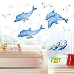 Wholesale Holiday Decals - Holiday Promotion Cheap Ocean Fish Dolphin wall Catoon Kids Room Wall Sticker DIY Bath Room Wall Decal Free Shipping DM35-0005