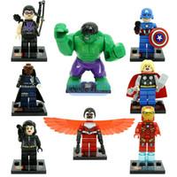Wholesale Diy Blocks Pcs - Super Heroes 8 pcs sets Action Building Blocks Figures The Avengers Hulk Thor Iron Man Captain America diy Toys for Children