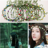Wholesale Colorful Tiaras Wholesale - Wedding Bridal Hair Accessories Fairytale Wedding Girls flower crown rattan garland romantic Hawaii colorful round Tiaras 5058