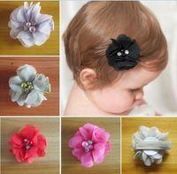 "Discount pearl bow barrette - 70pcs hair accessories kids,bows flower,baby girls hair clip Headwear 2"" fashion handmade pearl chiffon flower with beads rhinestone HD3233"