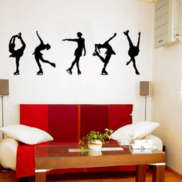 Wholesale Modern Pink Bedroom - Vinyl Wall Sticker DIY Figure Skating Art Decal for Room Decor