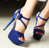 Wholesale Elegant Career Dress - Sexy blue stiletto heel dress shoes with flower elegant rhinestone bridemaids wedding shoes Size 34 to 39 YL