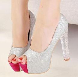 Wholesale Grown Woman - princess crystal heel silver bride shoes transparent platform shoes peep toe high heel pumps prom grown dress shoes