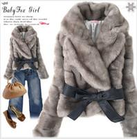 Wholesale Korean Long Hair Styles - 2015 Winter Coats Faux Fur Rabbit Hair Coat Jackets With Belt Korean Style Short Jackets Fashion Women Coat Ladies Cardigan Outerwear W43