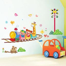 Wholesale Giraffe Decals - Wholesale-100*65cm Cartoon Giraffe 3D Decorative Wall Stickers For Children Kids Room Vinyl Wall Decals Decor Nursery Wallpapers Poster