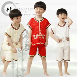 Wholesale Chinese Clothes For Boys - Free shipping new fashion kids boys clothes chinese traditional clothing kung fu uniform wushu martial arts for boys