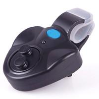 nueva alarma de mordedura de pescado al por mayor-Nueva pesca negro electrónico LED luz pescado mordida sonido alarma campana clip en caña de pescar # 45972, dandys