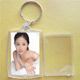 Wholesale Hot Picture Frames - 5 X Hot Transparent Blank Insert Photo Picture Frame Keyfob Key Ring Chain KeyChain#51270, dandys