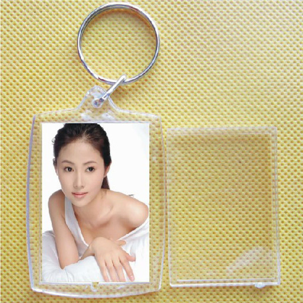 best selling 5 X Hot Transparent Blank Insert Photo Picture Frame Keyfob Key Ring Chain KeyChain#51270, dandys