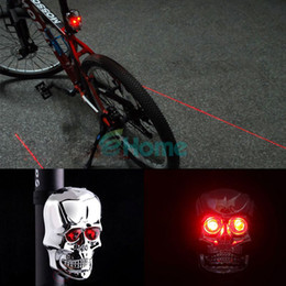 Wholesale Skulls Mode - Skull Bike Bicycle Laser Rear Tail Light Lamp 2 LED 7 Modes Waterproof Silver#55817, dandys