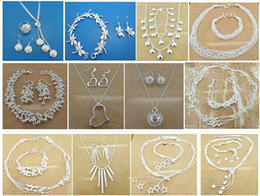 Wholesale 925 Bracelet Earring Sets - Free Shipping with tracking number Best Most Hot sell Women's Delicate Gift Jewelry 925 Silver Plated Mix Jewelry Set 12 Set 1039