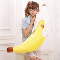 travesseiro de pelúcia banana venda por atacado-Nova Novidade Simulação Amarelo Banana Plush Stuffed Pillow Cushion Toy Presente 70 cm # 55717, dandys
