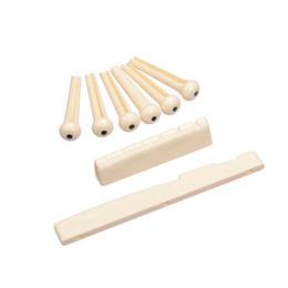 Nut Saddle Canada - 10set lot Folk Guitar Bridge Pins Saddle Nut,Ivory colour MU0760