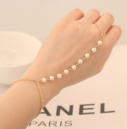 Wholesale Rings Hipsters - Pearl Slave Bracelet Hand Bracelet Finger Ring Bracelet Hipster Chain Bohemian Beads Bridal wedding Body chain body jewelry