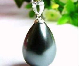 Wholesale South Sea Shell Pearls Wholesale - South 12x16mm Black Sea Shell Pearl Pendant Necklace