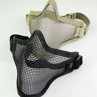 Wholesale Wire Mesh Prices - Free UPS DHL Half Face Metal Mesh Mask Tactical TMC Airsoft Steel Wire Paintball Resistant Skull Tan Camo Protective Masks Factory Price
