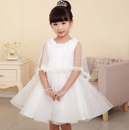 Wholesale Dress Gilrs - Western Gilrs Wedding Dresses Vest Flower Back Butterfly Dresses Girl Gift Cappa Dream Sweet Princess Girl's Dressy Clothes White J1784