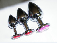 joyería anal plug mediano al por mayor-Grande Mediano Tamaño pequeño Acero inoxidable Atractivo Butt Plug Rosebud Sexo anal Joyas Buttplugs Jeweled muchos colores