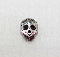 Wholesale Sugar Skull Charms - Day of the Dead Locket Charm Sugar Skull Floating Charms Floating Charm Halloween Floating Charm