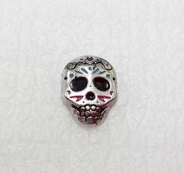 Dia dos Mortos Medalhão Charme Sugar Skull Floating Charms Charme Flutuante Halloween Charme Flutuante de