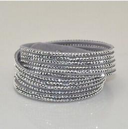 $enCountryForm.capitalKeyWord Canada - Fashion Rhinestone Slake Leather Wrap Bracelet Handmade Velvet Crystal Women Bracelets 12pcs lot, free shipping