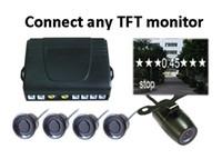 Wholesale Dvd Sensor - Car DVD Parking Sensor PZ600 Four Sensors TFT DVD Rearview Mirror Human Voice Bibi Sound Alarm 64 Colors To Choose Free DHL