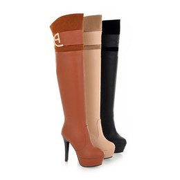 Wholesale Shoes For Nightclub - ENMAYER Nightclubs Round Toe Thin Heels 12cm fashion Over-the-Knee boots for women Sexy Winter boots shoes platformlongshoes