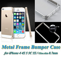 Wholesale Cross Bumpers - Luxury Metal Case Bumper Frame Case For Apple iPhone 4 4S 5 5C 5S Aluminum Metal Frame Smooth Ultra Thin 0.7mm Cross-line Bumper Cover Case