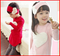 Wholesale Baby Costum - 2016 NWT Autumn Girl Baby girls cotton Long Top+Pants+Headband 3pc set cotton Costum Clothing 3-8 year peach heart design 5sets lot melee