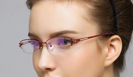 Wholesale Optical Glasses Womens - new Titanium eyeglass frames red or purple color womens lady eye glasses half optical frame fashion Beautiful eyeglasses eyewear by china