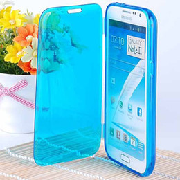 Wholesale Galaxy Note Ii Pink Case - New Crystal Clear Soft TPU Flip Case for Samsung Galaxy Note 2 II N7100 Transparent Cover White Pink Yellow Black RCD03037