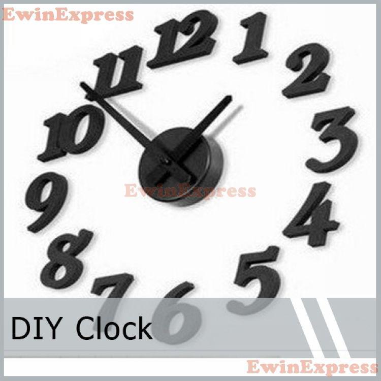 DIY 3d naklejki ścienne zegar domu wystrój wymienny naklejki ścienne naklejki tapety nowoczesny design czarny zegar dekoracji
