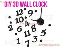 Wholesale Clock Wall Diy Mural - DIY 3D wall sticker clock home decor removable Wall decals stickers wallpaper Modern design Black Clock decoration
