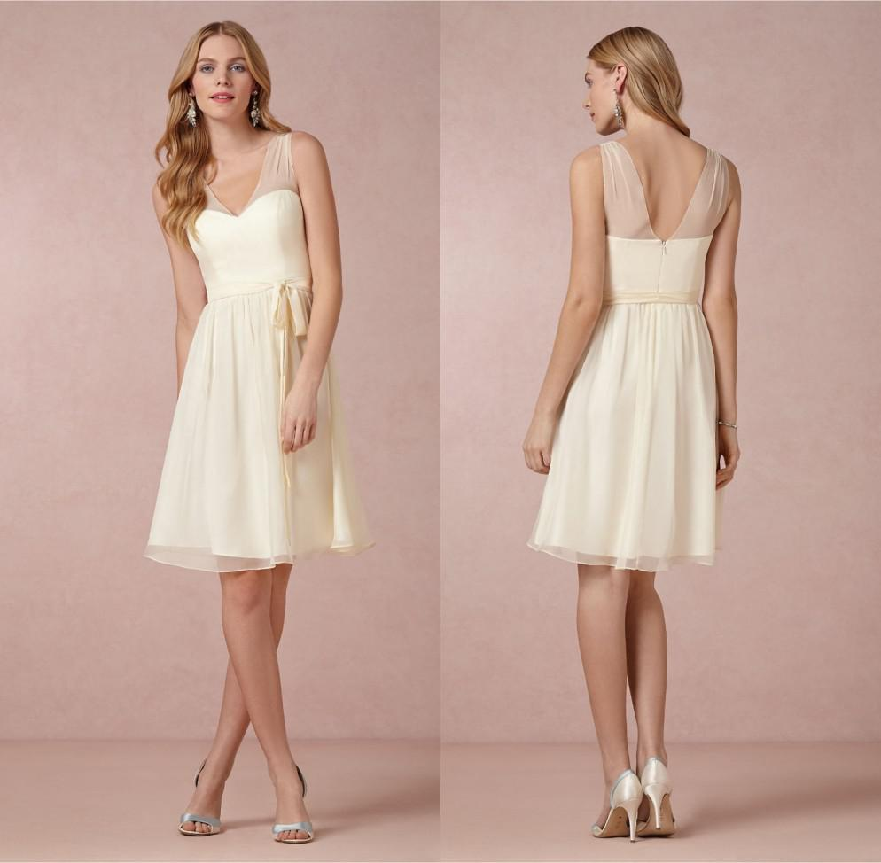 Sheer strap short junior bridesmaid dresses v neck sleeveless open see larger image ombrellifo Images