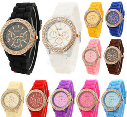 Wholesale Colorful Display Watch - women geneva colorful silicone jelly wristwatch Three circles Display gold frame candy band quartz watches 13 colors Wristwatches DHL Free