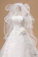 volantes velo al por mayor-Nuevo nupcial barato en stock 11006 Tulle Wedding Veil Cascuff Ruffles 4 Layers White / Ivory Fast Delivery