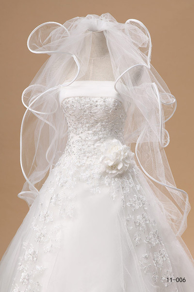 best selling New Bridal Cheap In Stock 11006 Tulle Wedding Veil Cascading Ruffles 4 Layers White Ivory Fast Delivery
