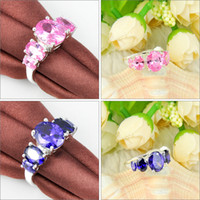 Wholesale Pink Kunzite Rings - Mix Color 5pcs lot Free shipping - hight quality 925 silver Classic Amethyst Pink Kunzite Gemstone rings CR0606 607 608